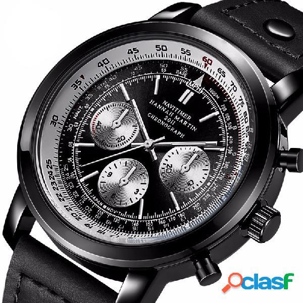 Reloj cronógrafo deportivo para hombre Leather Impermeable