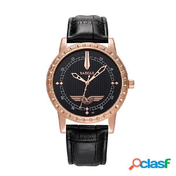 Reloj de cuarzo de cuero de los hombres de lujo de la moda