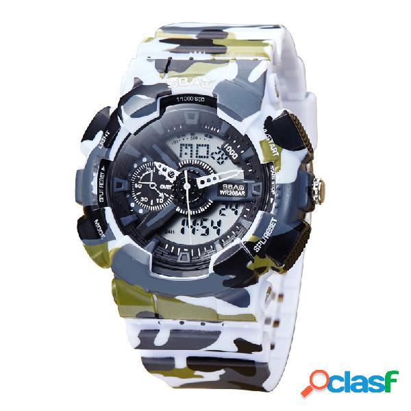 Reloj de cuarzo digital de moda con doble pantalla digital y