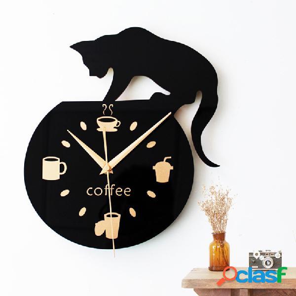 Reloj de pared de arte silencioso lindo gato escalada para