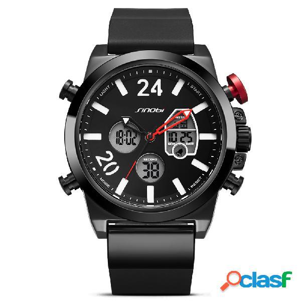 Reloj deportivo de moda Pantalla dual Reloj digital Hombres