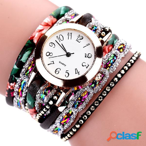 Relojes de las mujeres flor de cuero Rhinestones Pulseras