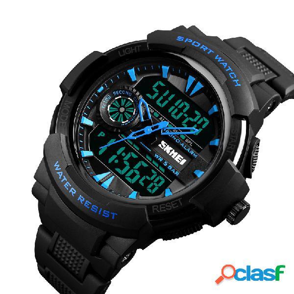 SKMEI Dual Display Digital Mens relojes cronógrafo reloj de