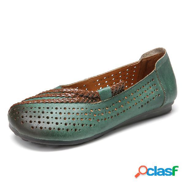 Soft Zapatos planos sin cordones con punta redonda trenzada