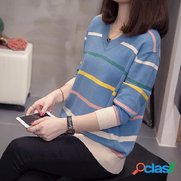 Suéter holgado de mujer Delgado Suéter de manga larga