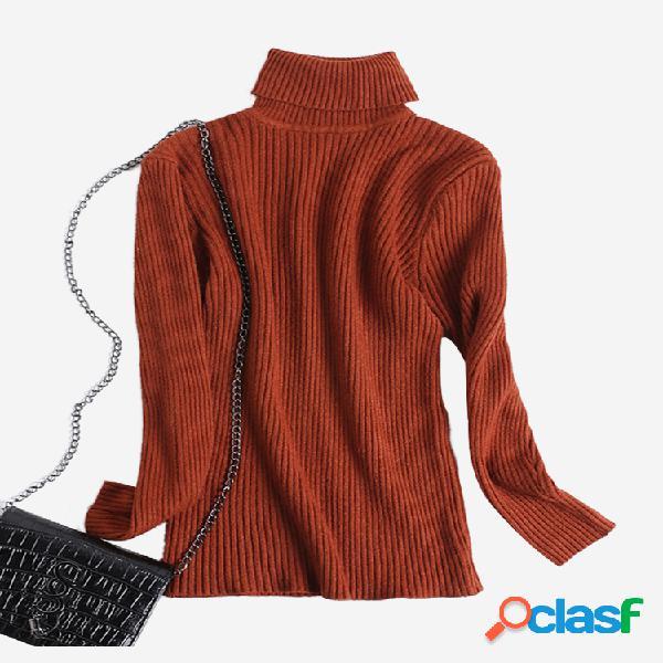 Suéter informal de punto de cuello alto de color sólido