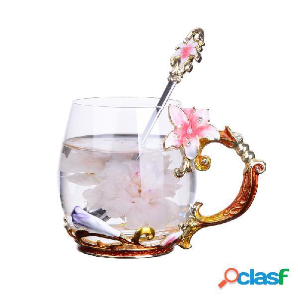 Taza de jugo de cristal de esmalte de flor de lirio Flor de