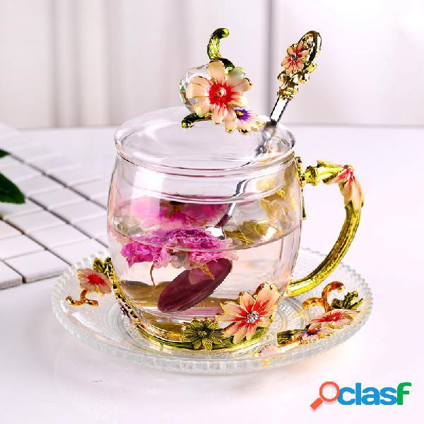 Tazas de té de cristal a prueba de calor con la taza de