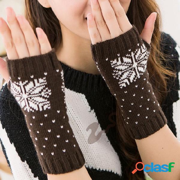 Tejer medio dedo cálido Mujer Copo de nieve Navidad Guantes