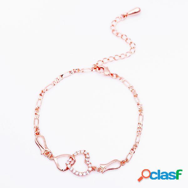 Tobilleras de moda accesorios doble circón corazones Cobre