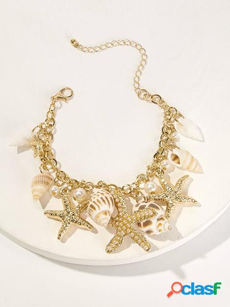Trendy Conch Starfish Colgante Pulsera con borla Bohemian