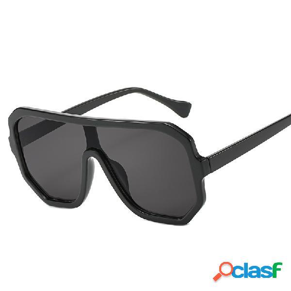 Unisex Retro Big Caja Round Face Sunglasses Border