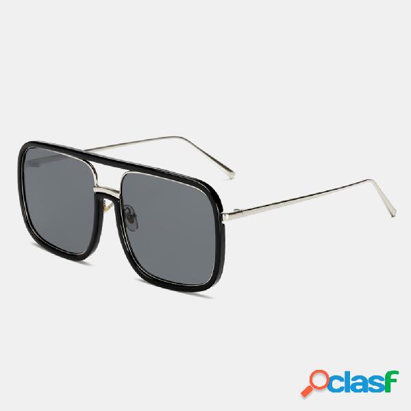 Unisex Retro Flat Mirror Square Large Frame Gafas de sol