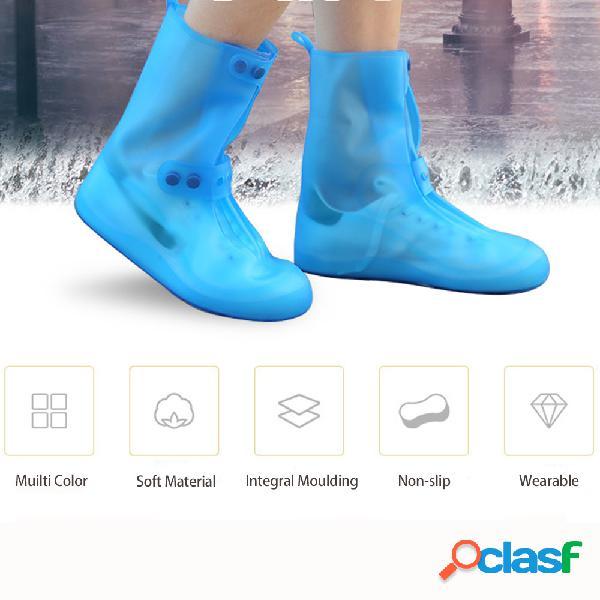 Unisex espesar Impermeable zapatos de lluvia transparentes