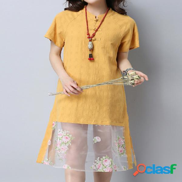 Vestido retro de mosaico con nudos chinos con mangas cortas
