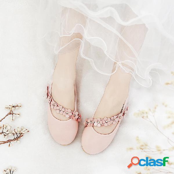 Zapatos planos de flores en color liso para niñas Princess