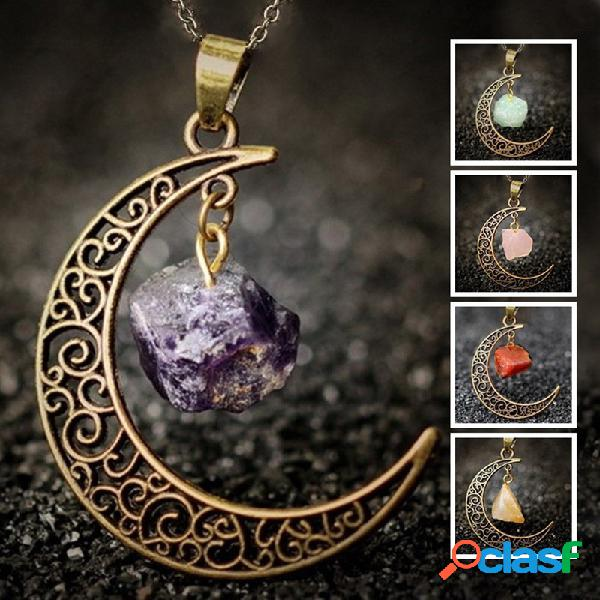 vendimia Collar de cristal de piedra natural de metal Luna
