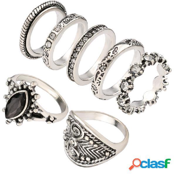 vendimia Juego de anillos de dedo Diamantes de imitación