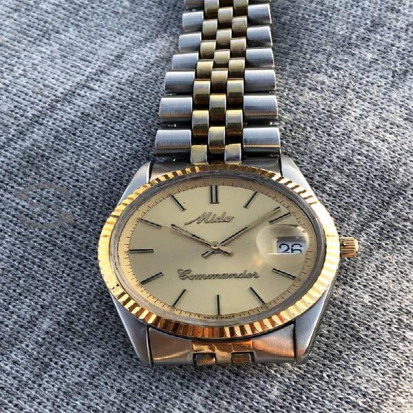Reloj Mido Commander Datejus automátic acero oro