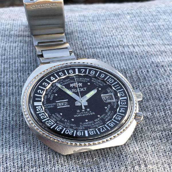 Reloj Orient Mundial king 3 estrellas negro grande