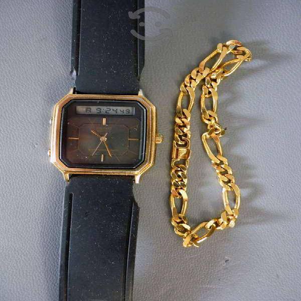 Reloj seiko y esclava chapa de oro de 22