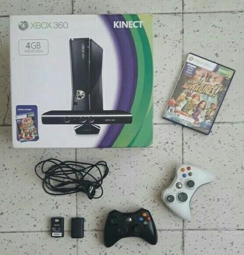 Xbox 360 Slim 4gb Kinect Con Juego Y 2 Controles Recargables