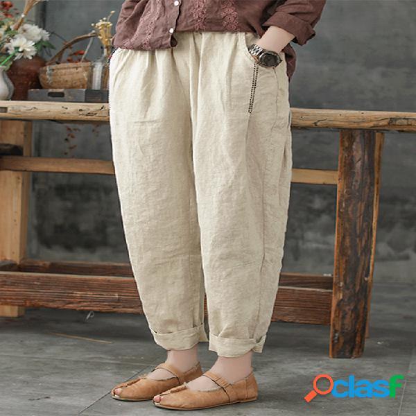 Color sólido suelto Plus Tamaño harén Pantalones con