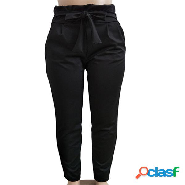 Harem de cintura alta con cordones elásticos Pantalones