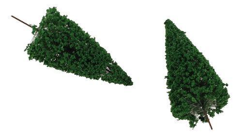 10pcs Modelos De Arboles Cedar Paisaje Decorado Verde Oscuro
