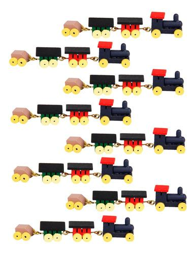 Tren Con Vagones De Madera Miniatura P/casa D/mu?ecas 8 Pzs.