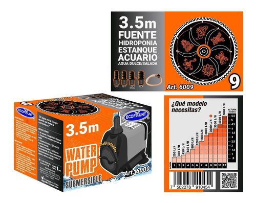 Bomba De Agua Sumergible Pecera Acuario Fuente 3.50 M 6009