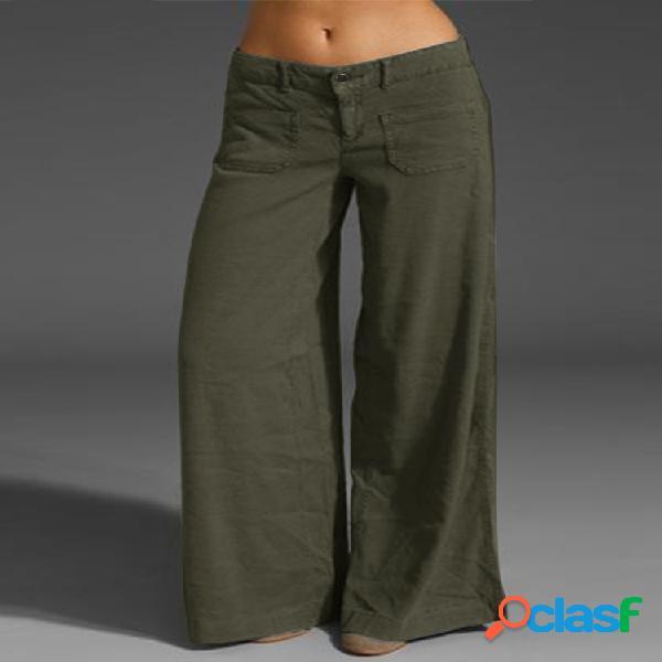 Bolsillos casuales de color sólido Plus Tamaño Pantalones