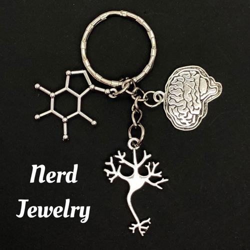 Cafeina Cerebro Neurona Llavero Quimica Biologia Molecula