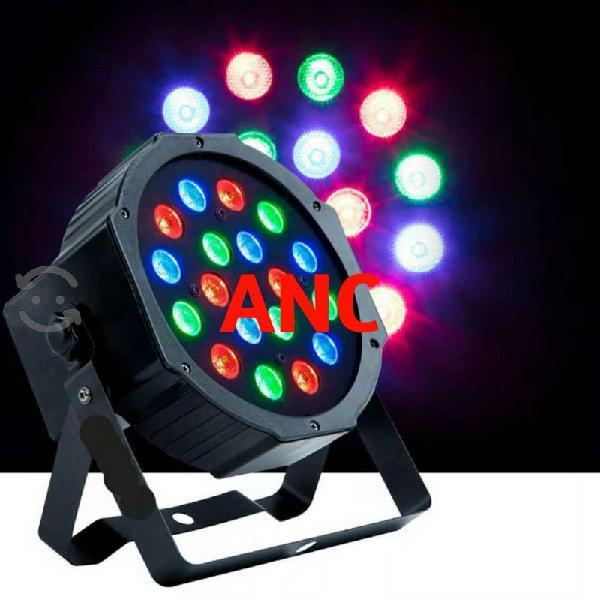 Cañón par 64 luz led rgb 18x1w reflector dmx