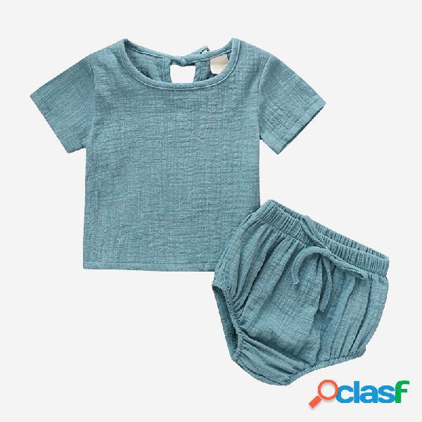 Conjunto de ropa casual de algodón y lino de mangas cortas