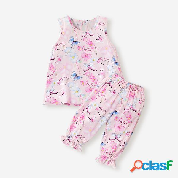 Conjunto de ropa informal sin mangas con estampado floral de