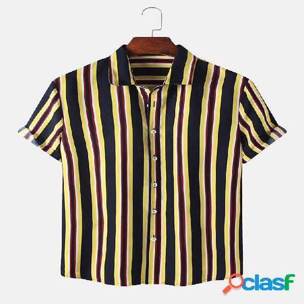 Hombres Casual Rayas Impreso Casual Camisa