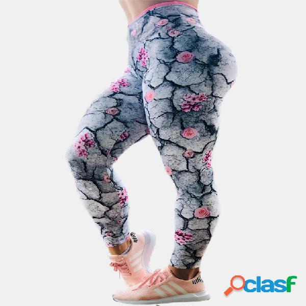 Imprimir cintura alta Plus tamaño Yoge Pantalones para
