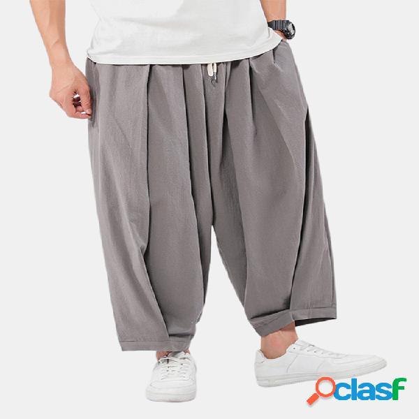 Lino para hombre Color liso Suelto transpirable Pantalones
