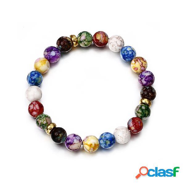 vendimia Colorful Pulsera con cuentas de piedra natural de