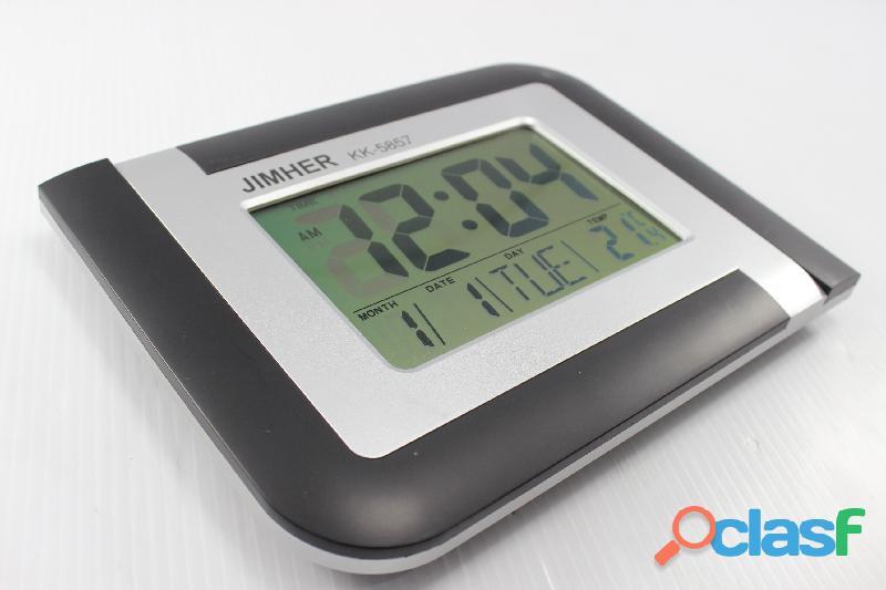 Reloj Digital Pared Escritorio Alarma Pila Usado (ver Fotos