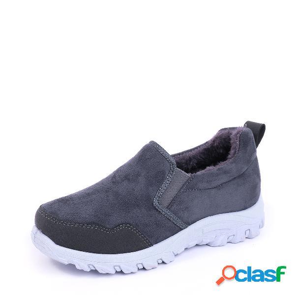 Botas grises antideslizantes con forro de piel caliente