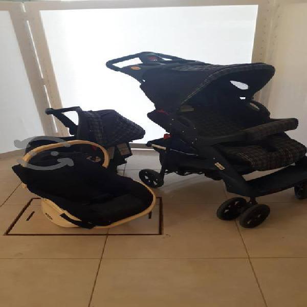Carreola evenflo con silla para auto y silla
