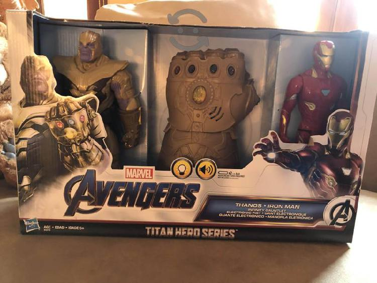 Set De Guante Thanos Y Figuras Iron Man Y Thanos