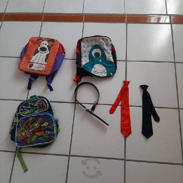lote de mochilas y corbatas