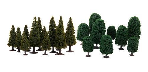 24 Piezas Ho N Escala Plástico Verde Cedro Modelo Árbol