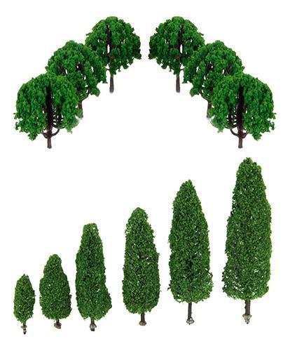 26pcs 1: 100 Árbol Modelo Verde Edificio Decor Miniatura De