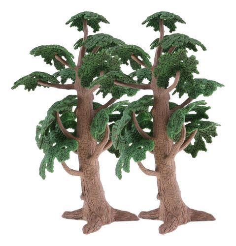 2x Mini Modelo Árbol Cedro Pino Verde 24 Cm Alto Para