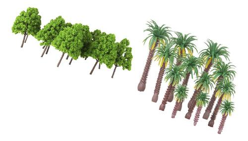 37x Mini Modelos De Árbol Ciprés Coco Palmera Para