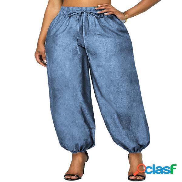Bolsillos de cintura elástica Plus Tamaño Harem Denim